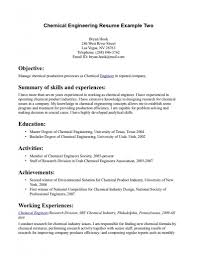 Entry Level Chemical Engineering Resume Filename Invest Wight