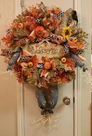 Scarecrow Wreath, Fall Wreath, Halloween Wreath, Thanksgiving Wreath,Deco  Mesh Wreath,