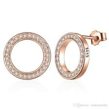 rose gold chandelier earrings 2018 round design pink gold plated fashion zircon paving 925