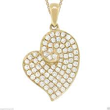 0 41 ct 14k yellow gold round brilliant diamond heart pendant necklace g si1