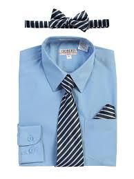 Gioberti Big Boys Light Blue Shirt Necktie Bow Tie Pocket Square Set 8 18