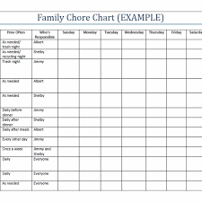 Chore List For Families 30 Family Chore Chart Template Simple Template Design