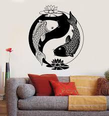 Small Picture Vinyl Wall Decal Yin Yang Tai Lotus Chinese Philosophy Zen Fish