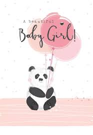 New Baby Girl Cards A Beautiful Baby Girl Baby Girl Cards Cute Panda With Balloons Card Congratulations Baby Girl Card New Baby Wishes