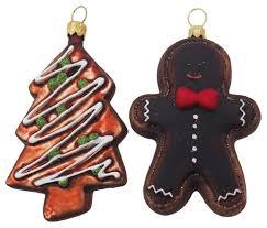 Christbaumschmuck Weihnachtsbaumschmuck Weihnachtsdeko Lebkuchen Kekse Glas 2 Stück