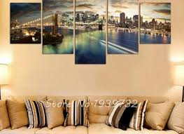 5 panel new york city landscape canvas home decor wall art on 5 canvas wall art custom with 30 custom canvas wall art personalized beach couples wall canvas