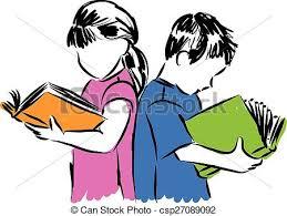 children boy and reading books ilration eps