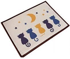 qzunique cotton linen z non slip indoor outdoor hello doormat large small inside outside front door mat carpet floor rug five cats 40 x 60 cm ksa