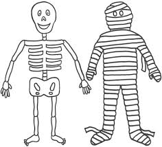 Small Picture mummy and his friend mr skeleton funny coloring page Download