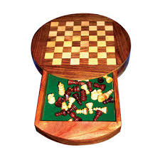 india wooden round chess board
