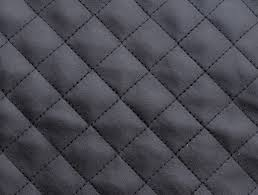black quilted faux leather fabric