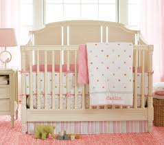 Bedroom:Simple Beige Baby Crib With Soft Pink Bedding In White Wall Paint  Modern Cradle