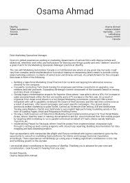 Marketing Operations Manager Cover Letter Example Cover Letter