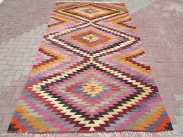 turkish kilim runner rug 29 5 x 111 8 with traditional stars design