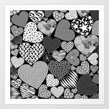 Art Doodle Love Hearts Doodle Art Pattern Art Print