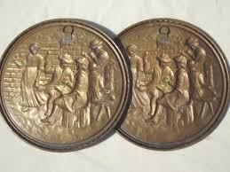 Antique Brass Wall Plates Enchanting Vintage Brass Chargers Plates Old English Beaten Brass Wall Art