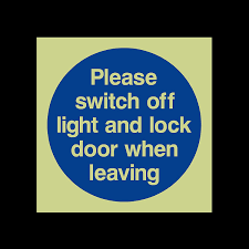 please lock door. Please Switch Off Light And Lock Door When Leaving Photoluminescent Plastic Sign - Fire Escape, Keep Locked, Closed, Stairs, Clear, Automatic: Amazon.co.uk:
