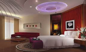gypsum board false ceiling designs for romantic master bedroom design ideas with red sectional sofa and elegant curtains also warm color schemes