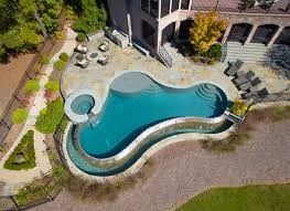 infinity pool design. Unique Design Inground Swimming Pool And Spa With Negative Edge Air Shot With Infinity Pool Design