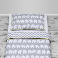grey elephants chevron design with yellow piping cot and cot bed size