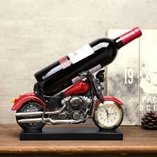 motorcycle wine bottle holder with clock