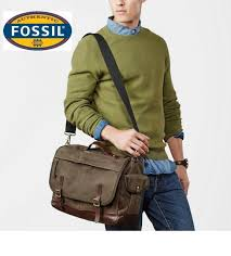 fossil defender waxed canvas top handle leather messenger cross in brown nwt