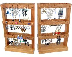 Wooden Necklace Display Stands 100 Earring Display Holder Spinning Four Sided Finely Crafted Wood 31