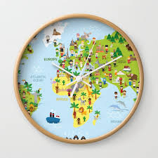 funny cartoon world map with childrens