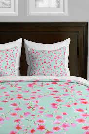 image of deny designs cherry blossom mint duvet cover