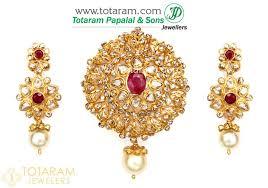 22k gold uncut diamond pendant drop earrings set with ruby south sea pearls