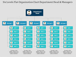 Six Levels Flat Organization Chart Department Head And