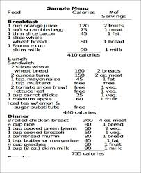 Dietitian Chart 9 Diet Chart Templates Lose Weight In Style Free
