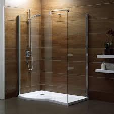 Interior. bathroom design ideas using corner bathroom walk in shower designs  including dark brown tile