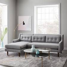 gray couch with chaise. Interesting Couch Crosby MidCentury 2Piece Chaise Sectional Throughout Gray Couch With F