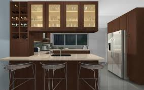 Kitchen Cabinets Refrigerator Kitchen Gray Bar Stools Brown Wall Wine Racks Brown Modern