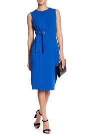 Ivanka Trump Plus Size Chart Grommet Tie Waist Scuba Dress