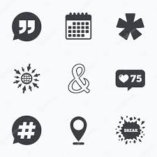 Quote Asterisk Footnote Icons Stock Vector Blankstock 110820572