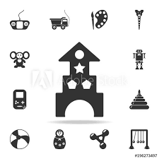 wooden blocks toy castle and house icon detailed set of baby toys icons premium quality graphic design one of the collection icons for websites