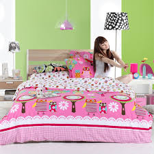 red pink and white retro night owl print wild animal themed full pertaining to awesome household full size girl bedding sets plan
