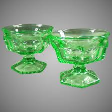 heavy green vintage glass ice cream sundae or sherbet dishes pair ogee s antiques ruby lane