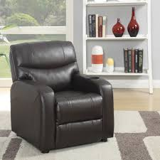 awesome dark brown faux leather kids recliner costco with cup holder
