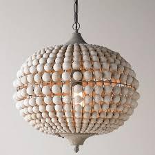 bohemian wood bead pendant light
