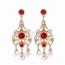 classic indian patterned chandelier earrings hollowed style acrylic pearl earrings red gold plated