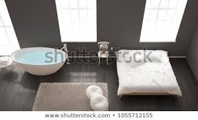 Image Brick Classic Industrial Modern Bedroom With Big Windows Brick Wall Parquet Floor And Bathtub Caandesign Classic Industrial Modern Bedroom Big Windows Stock Illustration