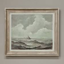 framed oil painting on canvas by senger dated 1947 is entitled la mer sauvage