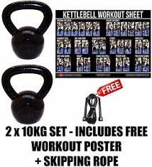 Fxr 2 X 10Kg Kettlebells Strength Training Home Gym Fitness ...