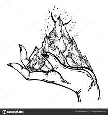 Hory V Rukou Tetování Divočina Na Palm Stock Vektor Katja87