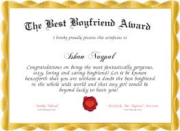 The Best Boyfriend Award Certificate Created With Certificatefun Com
