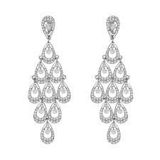 long diamond articulated chandelier earrings