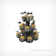 cupcake stand 3 tier polka dot black